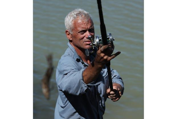 To catch a big fish, one often needs a big rod and reel. Jeremy Wade prepares to catch a freshwater sawfish, which can grow to 20 feet and over 400 pounds.