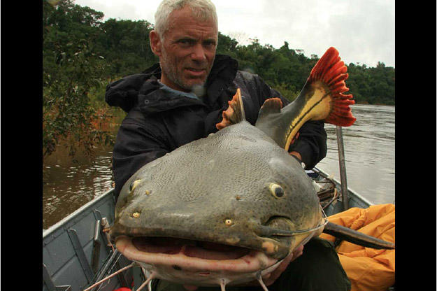 Jeremy Wade with a red-tailed catfish. This fish has a wide mouth with grasping pads for holding prey. Catfish lack sharp teeth because they swallow their prey whole.
