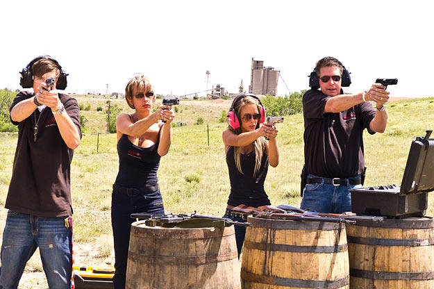 The family that shoots together....  The Wyatts with all .45's.