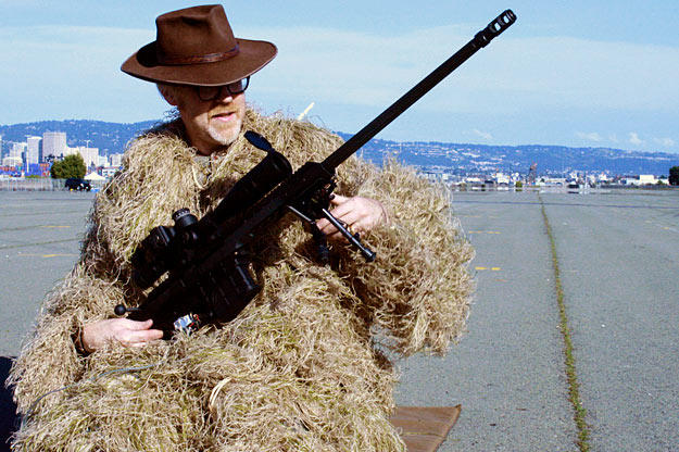 """For """"Dodge a Bullet,"""" Adam Savage suited up in sniper camouflage gear (which, yes, he kept after the show)."""