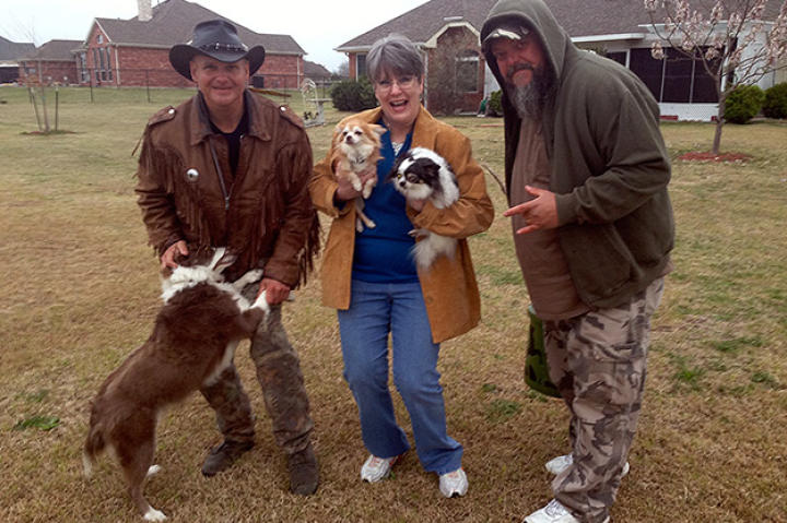 Turtleman, Neal James and homeowner Linda Jangula LOVE their doggy buds!