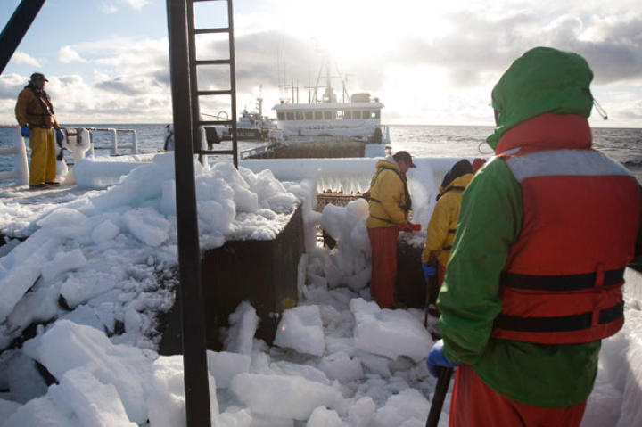 "After long hours clearing ice and pots, Wizard deckhands still face a deck covered with snow. Earlier, during the worst of the storm, Capt. Andy on the Time Bandit ordered the pots to be dropped without bait because the ice buildup was making the boat top heavy and unstable. As Andy said, ""Don't matter if we're catching crab or not — this is staying alive."""