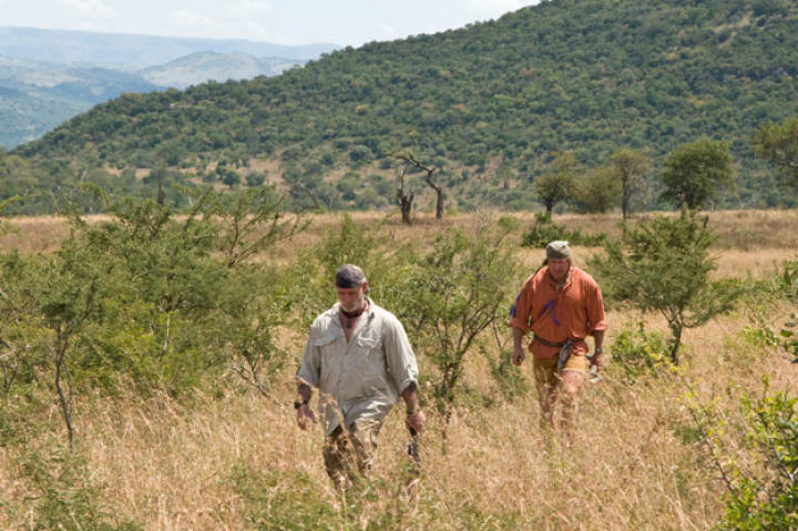 The survival duo starts out across the bush with all their senses on high alert. It's best to create a rapidly alternating rhythm of looking down — to avoid holes and snakes — and looking around to check for four-legged threats.