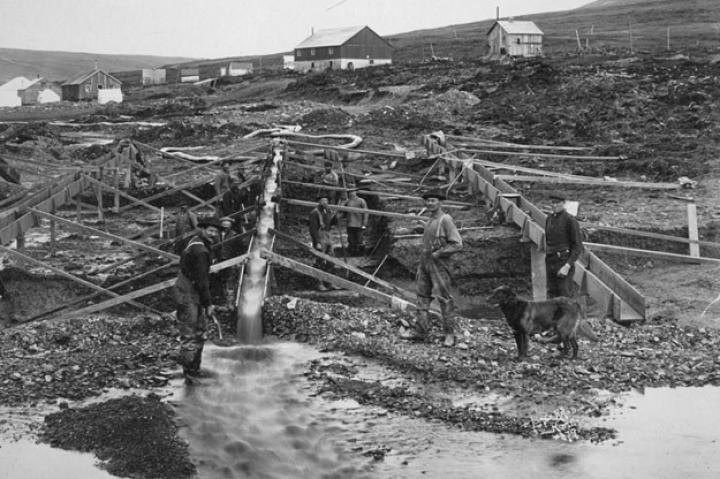 As the easily-mined beach gold dried up, more sophisticated operations were set up a little further inland like this one at Anvil Creek. These near shore sites were often very productive although miners going much further inland eventually ran into the challenge of permafrost - just like the Hoffman crew discovered at