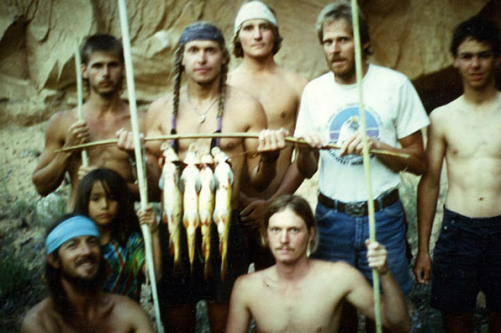 Fish caught by hand and spear on a primitive living skills field course. Southern Utah, 1989.