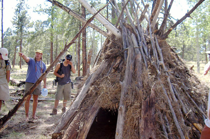 Building a wickiup with Native American students, New Mexico, 2005.