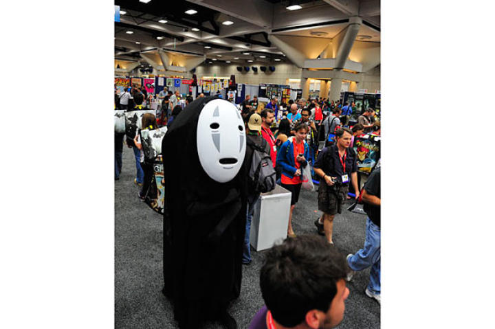 Every year Adam Savage goes incognito on the Comic Con floor. In 2009, he dressed as Hellboy, in 2009 as a Joker's henchman, and in 2010 as a Storm Trooper.