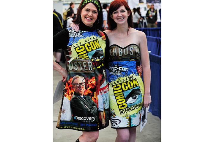 Two of the fans fashioned their clothes from previous MythBusters Comic Con bags.
