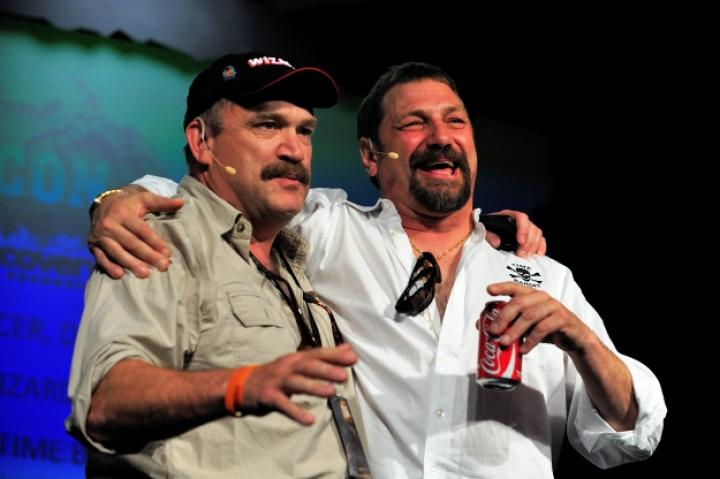 Johnathan and Keith call a truce to have fun on the 2010 Captains' Panel.