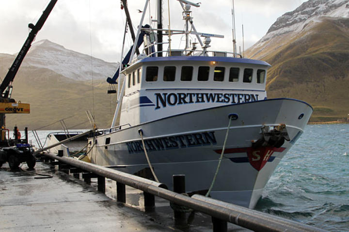The Northwestern in Dutch Harbor, Alaska not long after it sailed up from Washington state for the beginning of King Crab Season.