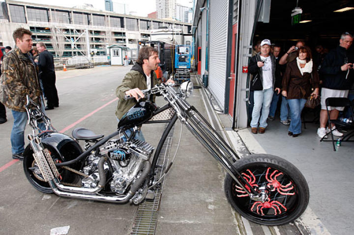 Rick rolls the Deadliest Catch Bike into Seattle's Bell Harbor Conference Center for its CatchCon debut.