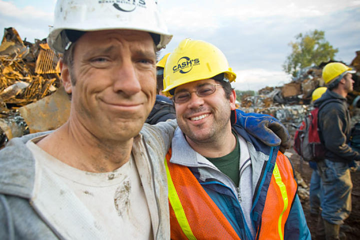 In October 2007, Mike Rowe and Dirty Jobs super-producer Dave Barsky take a break during filming in St. Louis, Mo.