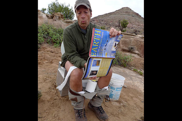 "According to Mike Rowe, when scientists are sitting on the toilet in the field, they read ""magazines about the earth and stuff like that.""   Clearly."