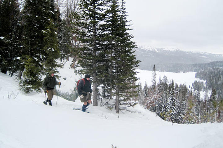 Cody (wearing the only pre-supplied pair of snowshoes) and Dave carefully approach a frozen waterfall that offers a faster route down the mountain.