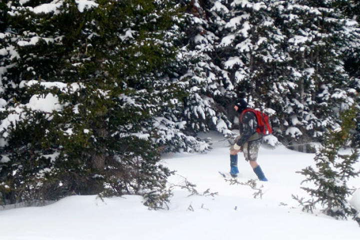 Cody sets out to gather firewood, no easy feat when most of the dried wood is buried under a few feet of snow.