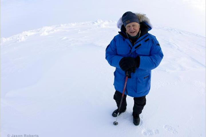 David Attenborough at the North Pole, April 2010.
