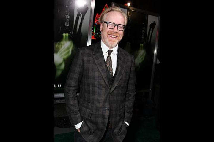 Movie-lover Adam Savage grins ear to ear at the premiere of