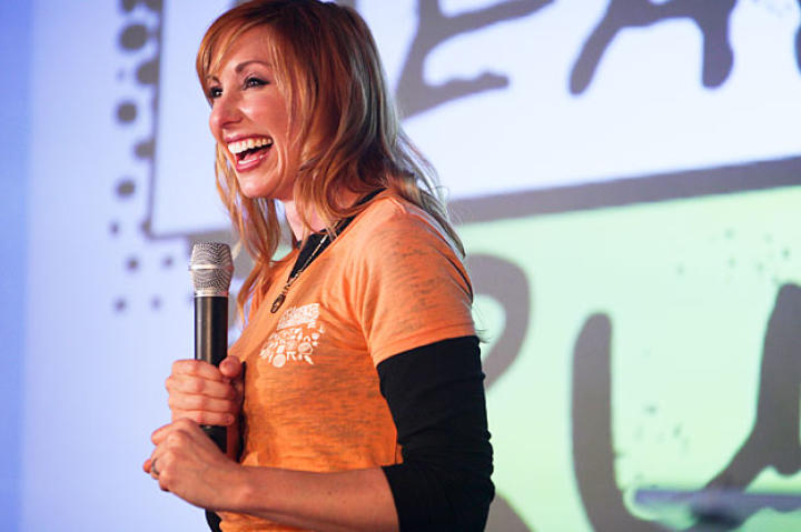Kari Byron speaks to a full house at the Science and Engineering Festival on the National Mall.