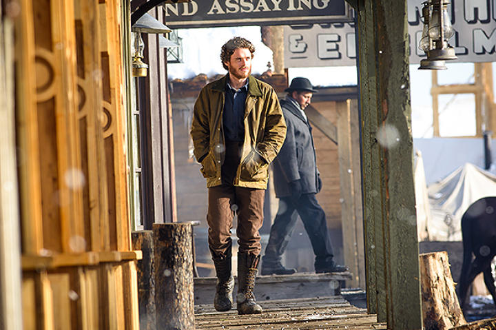 Richard Madden as Bill Haskell and Augustus Prew as Byron Epstein in Discovery Channel's Klondike.