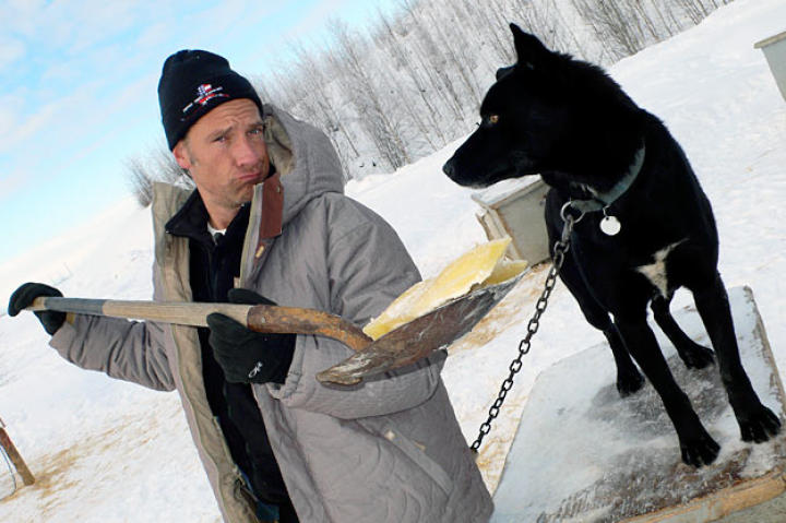 In Big Lake, Alaska, Mike Rowe performs Pee-Pee Patrol in subzero temperatures, ostensibly to help prepare three-time Iditarod champion Martin Buser's sled dogs for the big race.