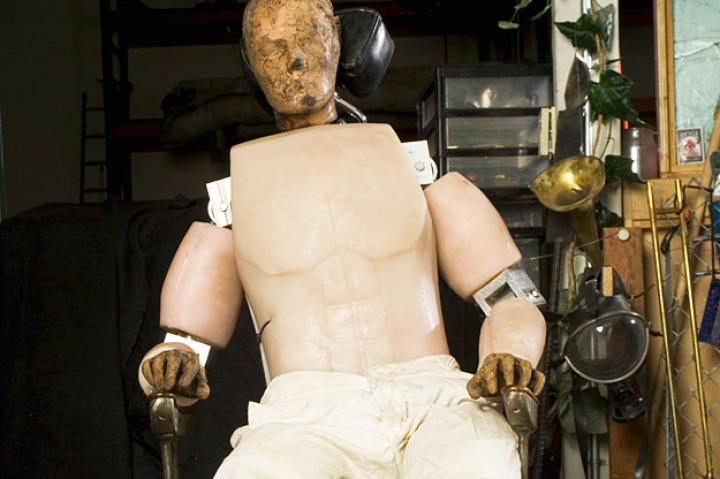 MythBusters star Buster relaxes between scenes in 2005.