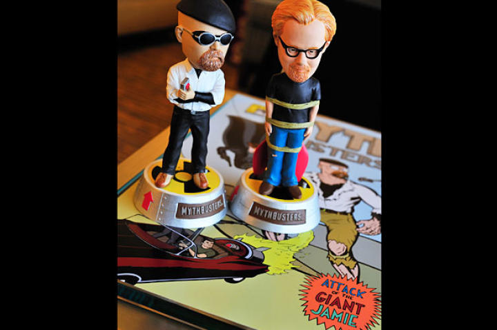 Behold the Jamie Hyneman and Adam Savage talking bobble-heads. And no, these weren't just for Comic Con ... They are available at