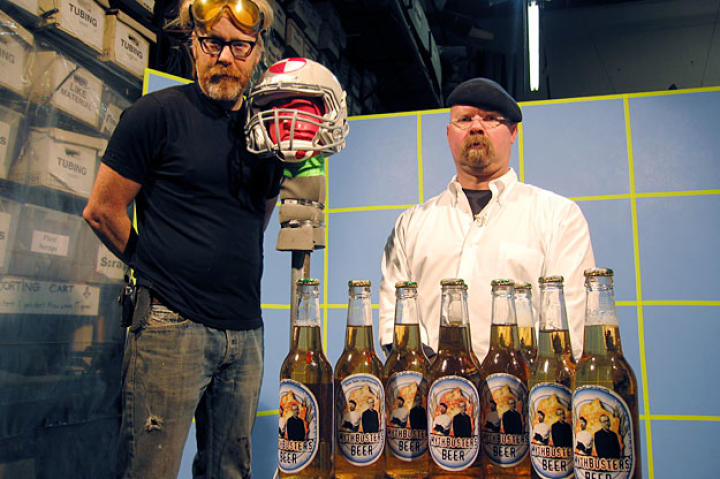 Which is worse, having an empty bottle bashed over your head? Or a full bottle? Adam Savage and Jamie Hyneman are on the case of the ... case (of beer).