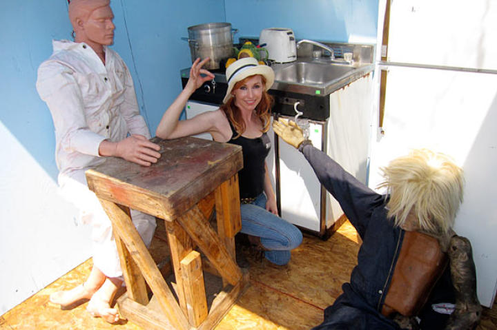 "Kari Byron hangs with her ""Gas Room Boom"" buddies, who helped her and her fellow MythBusters take on a scene from"