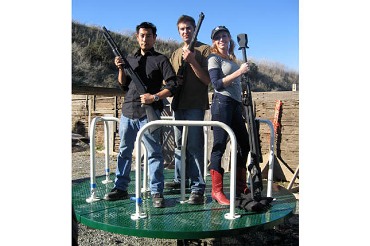 Can a revolver make a merry-go-round revolve? Grant Imahara, Tory Belleci and Kari Byron see whether this scene from 2007's