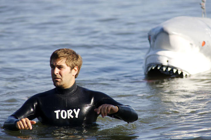 At the Encinal Boat Launch in Alameda, Calif., Tory Belleci channels Buster while demonstrating the power of a shark's bite for  Shark Week 2008.