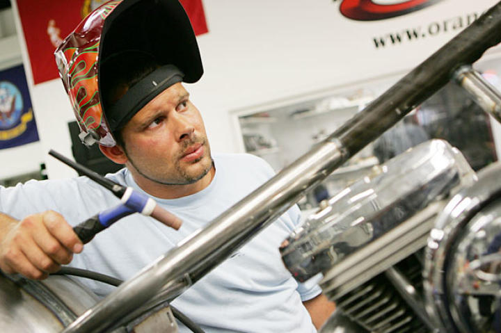 Paulie takes a moment during a 2005 build. Twenty episodes of American Chopper premiered on Discovery Channel in 2005.