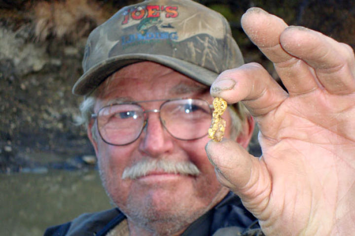 """Dakota"" Fred Hurt is a seasoned gold miner and long-time friend of claim owner Earle Foster who knows how to find a nugget or two."