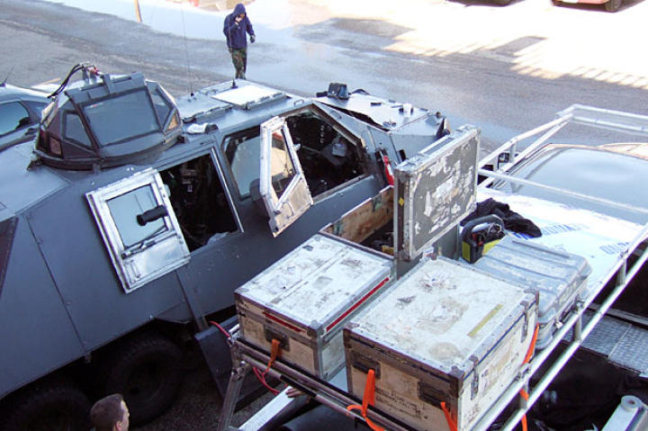 One of Matt's less glamorous, routine duties with the Doghouse crew was providing logistical support for the TIV. Here, he and teammates are loading the Doghouse with essential IMAX and weather gear.