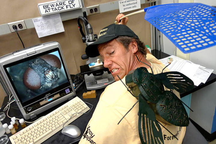 At Purdue University's Forensic Entomological Research Compound, Mike Rowe's gag reflex had plenty of exercise. Plenty.