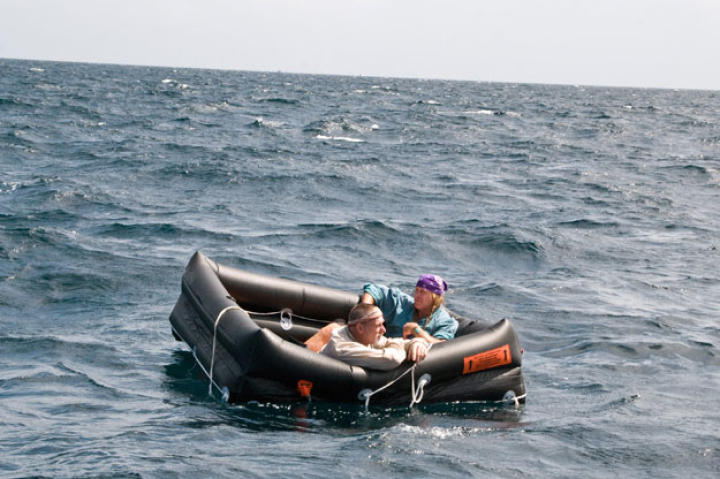 Cody and Dave are next forced to drift in an emergency raft while keeping an eye on the horizon for ships or land. At this stage the greatest danger is dehydration, often made more acute by seasickness.