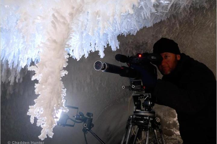 Filming in an ice cave beneath Antarctica's Mount Erebus.