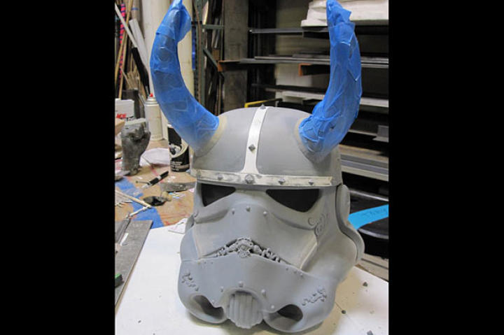 "For Tory, ""It was nice to get back to my model-making roots. What better way than working on a Stormtrooper helmet?"""