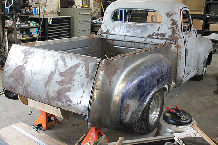 Studebaker in the shop gutted and sanded.