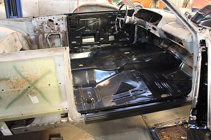 The new floor installed in the Impala.