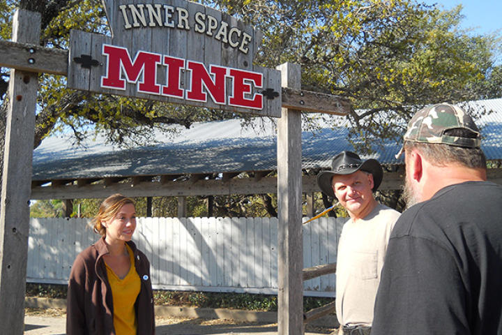Turtleman (Ernie Brown, Jr) and Neal James meet Taylor Pierce at Inner Space Mine.