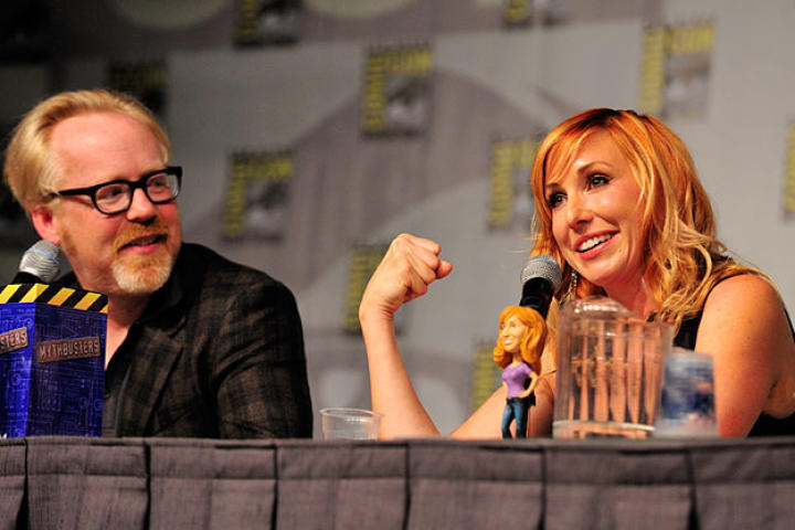 """For the """"airplane mauled by bears"""" test, it was Kari Byron who donned the big claws (a la Wolverine)."""