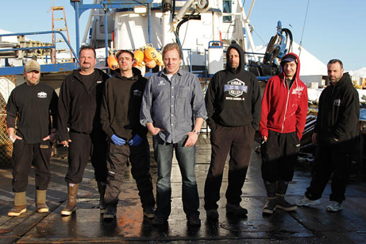 "The Northwestern returns for the new season with a full-strength, seasoned crew. From left to right: Norm Hansen, Nick Mavar, Jr., Jake Anderson, Captain Sig Hansen, Deck Boss Edgar Hansen, Jake Harris and Matt Bradley. After an unsuccessful attempt to make a living off the boat, Edgar Hansen returns to his critical position as his brother Sig's right-hand man and heir apparent to the captain's chair. Jake Harris joins the crew after he and his brother Josh realize that the Cornelia Marie will not sail this season. With the support of the other deckhands, Matt Bradley courageously continues his ""stay clean"" commitment to keep his place on deck with his fishing brothers."