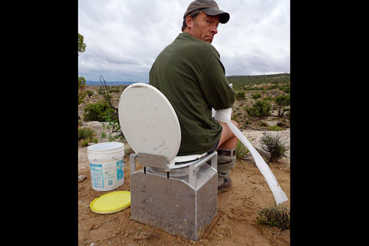 Did you ever wonder where paleontologists — who are out in the field all day digging up dinosaur bones — go to poop?  Well, wonder no more; they rely on a portable porter pot like this one.