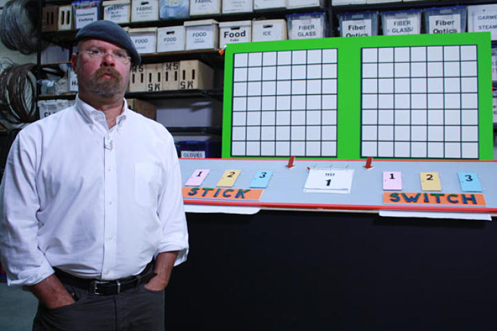"The Monty Hall Paradox is one of the myths proposed by you viewers, curious about the science behind ""I'll take what's behind door number one, please."" When do you stick with your choice, or switch it up? Jamie Hyneman knows the answer; you'll have to watch ""Wheel of MythFortune""."