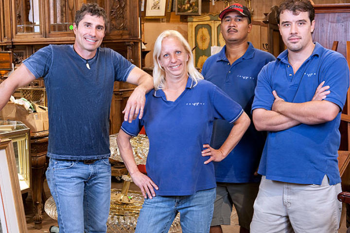 The Gallery 63 crew, from left to right: owner Paul Brown, office manager Cindy Shook, handyman Delfino Ramos and assistant manager/picker Jon Hammond.