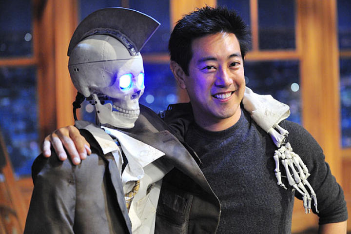 Grant Imahara poses with Geoff Peterson, the robot skeleton sidekick he built for late night's Craig Ferguson.