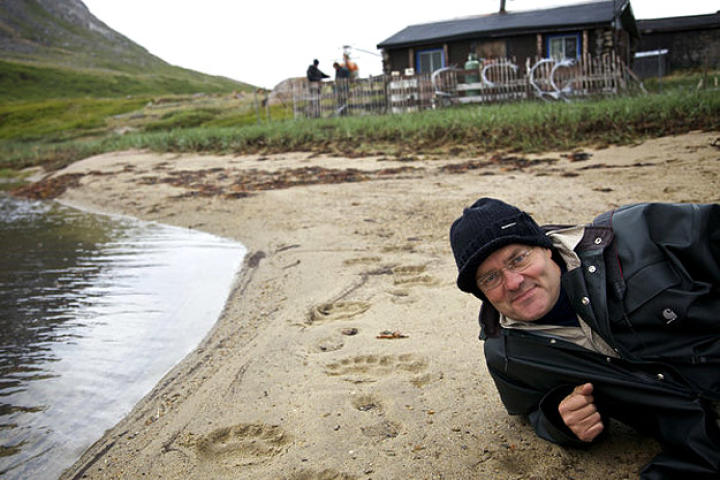 Polar Bear Attacks Camp Door, Helicopter