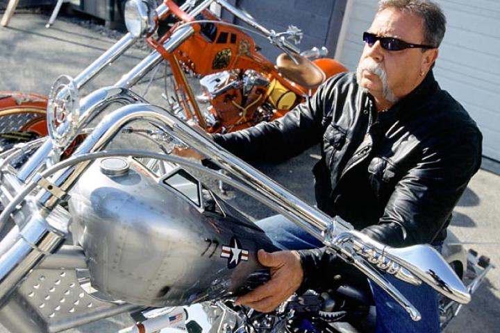 Paul Teutul Sr. sits astride the Jet Bike, from the American Chopper pilot episode in 2002. (That's right, 2002.)