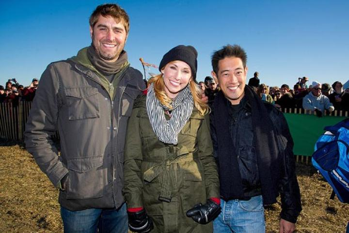 Our Punkin Chunkin hosts of Mythbusters fame, Tory Belleci, Kari Byron and Grant Imahara, pose for a group shot.