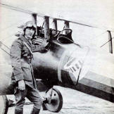 Rickenbacker with his Nieuport 28, an aircraft known for being lightweight and highly maneuverable. Notice the famous Hat in the Ring insignia of the 94th Fighter Squadron, one of the oldest units in the USAF.